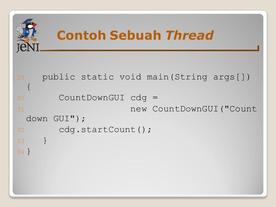 Contoh Sebuah Thread public static void main(String args[]) {